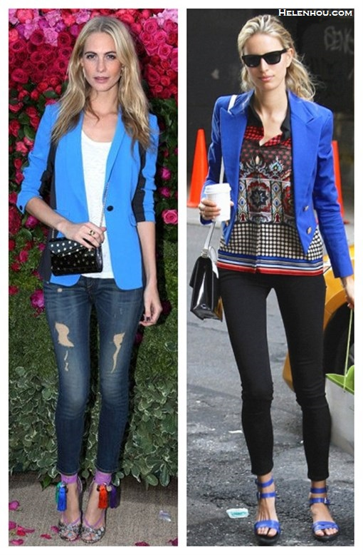 how to wear a colored blazer; how to wear statement shoes;Poppy Delevingne, Karolina Kurkova; color block blazer, distressed jeans, tassel rope-tie heel sandal, jimmy choo, crossbody bag, blue jacket, black skinny jeans, strappy sandals, colorblock bag, black and white, printed top, spring/summer, street style, party outfit,  On Poppy Delevingne: Rag & Bone Jefferson blue Blazer, Jimmy Cho Dream rope-tie elaphe sandals,Jimmy Choo Candy Star-Printed Acrylic Clutch, distressed jeans, white tee;  On Karolina Kurkova: blue jacket, black skinny jeans, ankle strap sandal, crossbody bag, ray ban sunglasses,ethnic printed blouse,