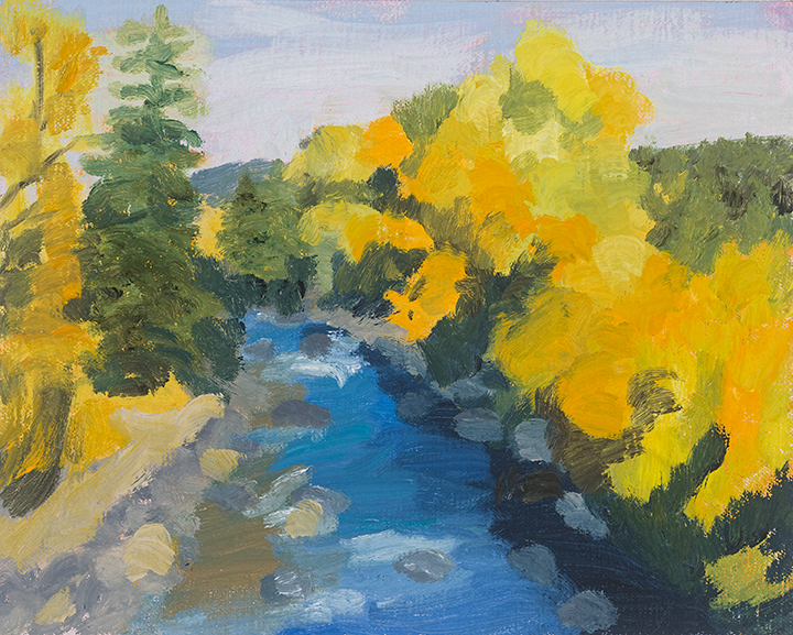 Fall Along Creek, 9X12, oil on panel, , Painter Helen Matthews