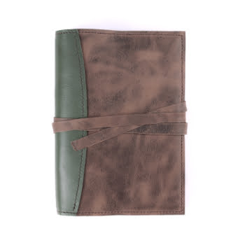 A5 The Library Moss Antique Brown Tie leather cover