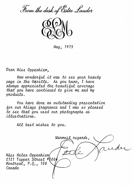 Memories. Estée Lauder Letter and Tea - 1973