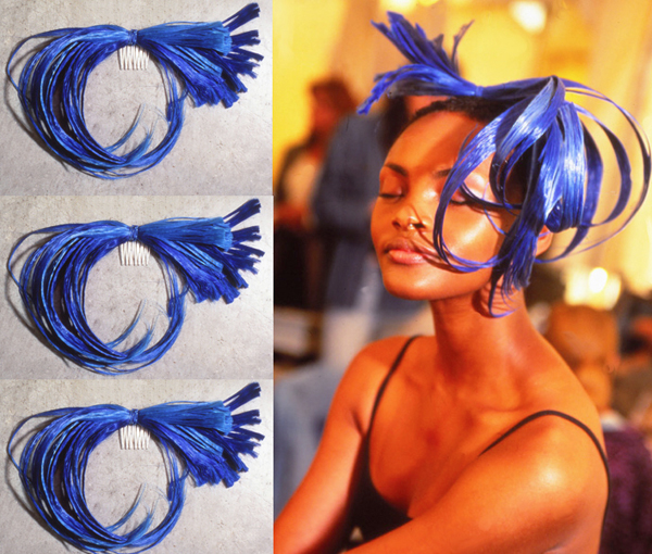 "Blue ""Feather"" Hairpiece For Big Night – 1996"