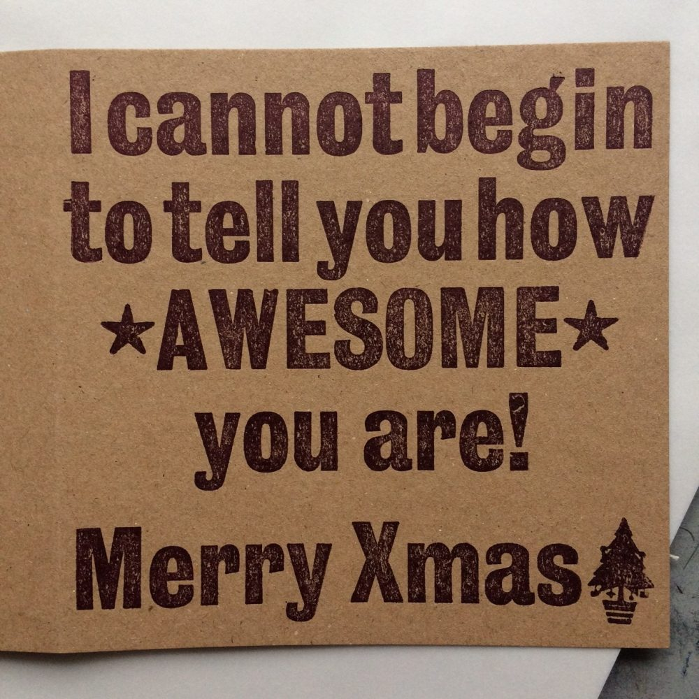 Letterpress Card – Awesome Xmas