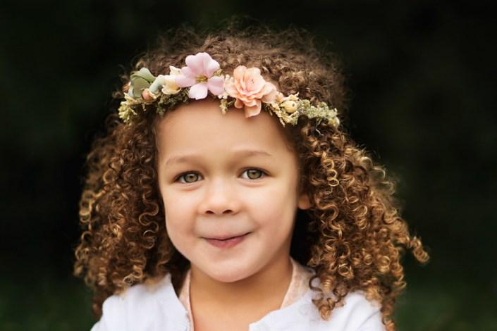 Helen Rowan Photography Outdoors beautiful hair little girl curls headdress