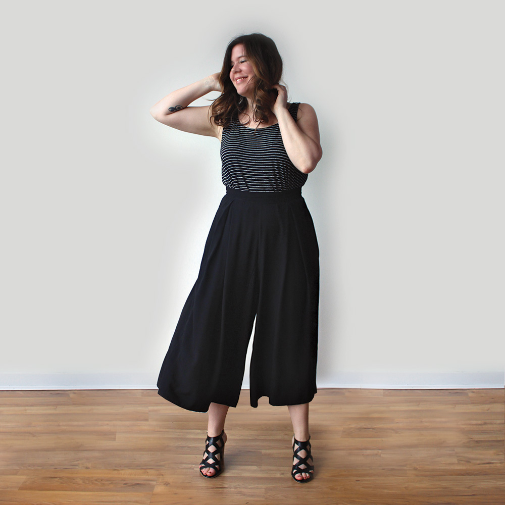 The Winslow Culottes, modelled in a black fabric.