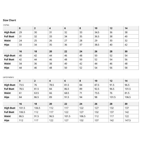 Yanta Overalls Size Chart