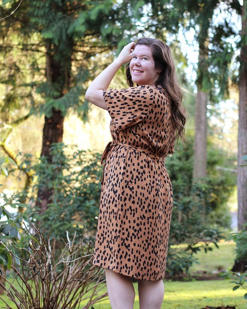 Ashton Top Butterfly Sleeve Dress Hack in Leopard Print Tencel Twill