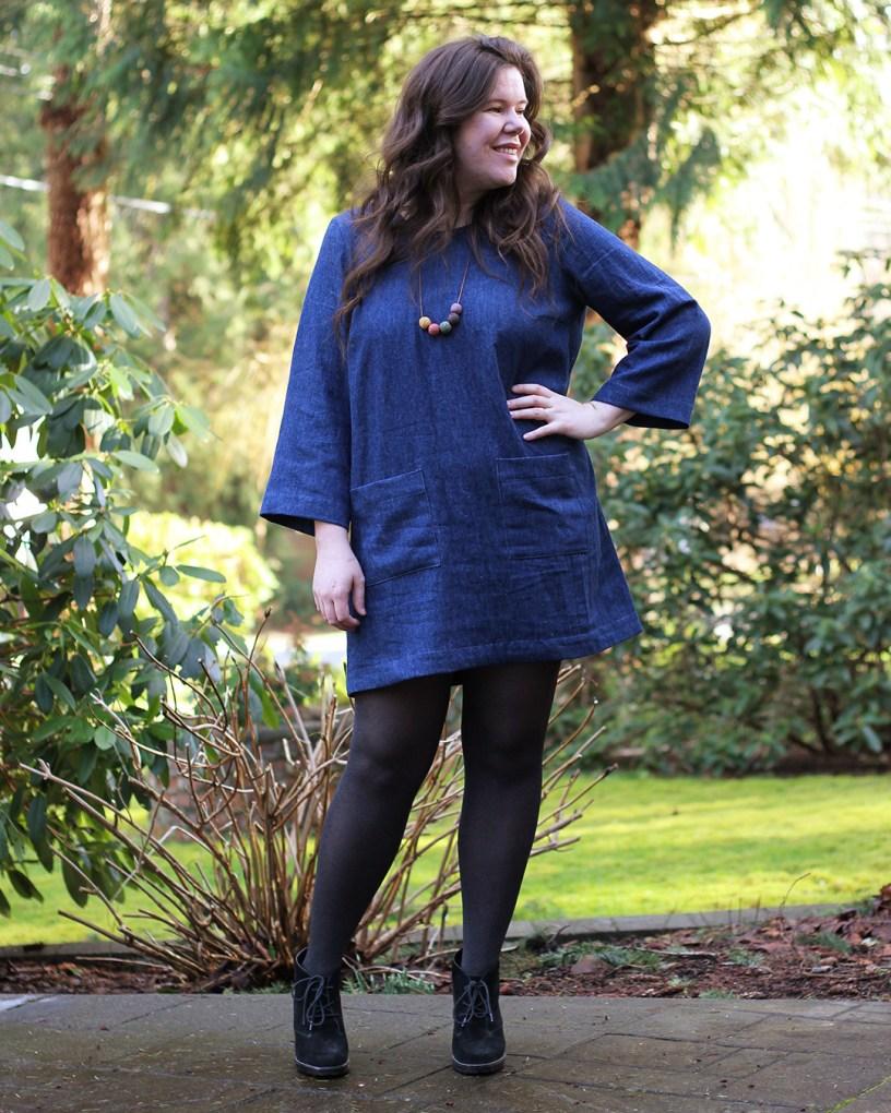 Denim Ashton Dress Hack featuring Long Sleeves Expansion