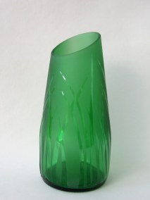 Wide green recycled bottle vase