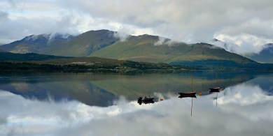 Reflections on a loch in Scotland