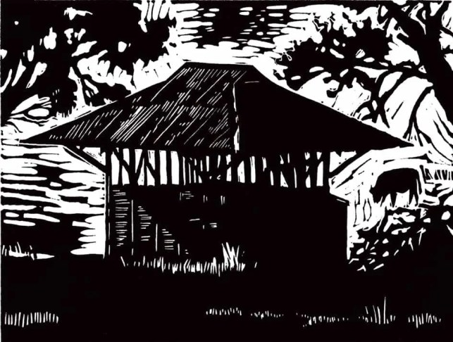 Homestead Slaughterhouse linocut $100