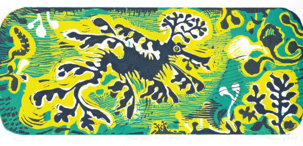 That leafy sea dragon linocut $100