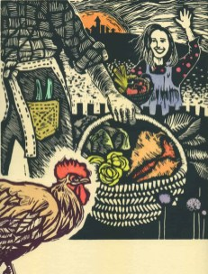 What the Rooster Saw linocut $90 edition of 30