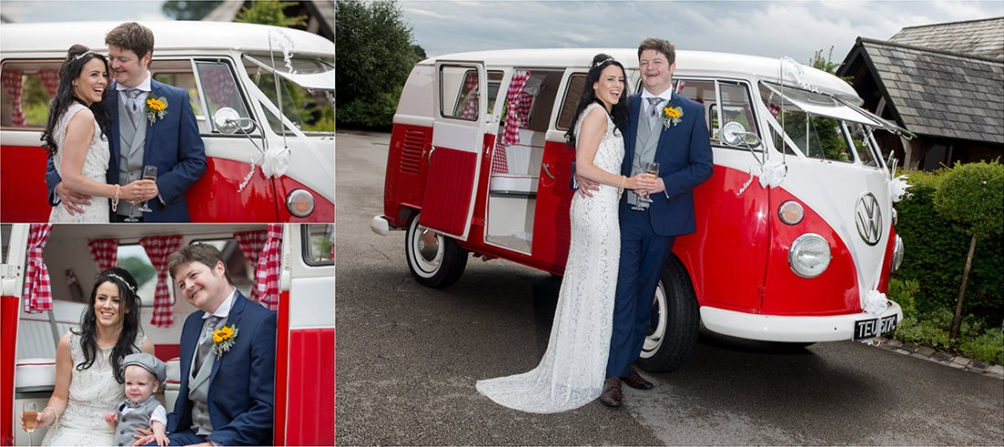 VW Camper Van, Wedding Camper Van, Vintage Camper Van with bride and groom, red camper van