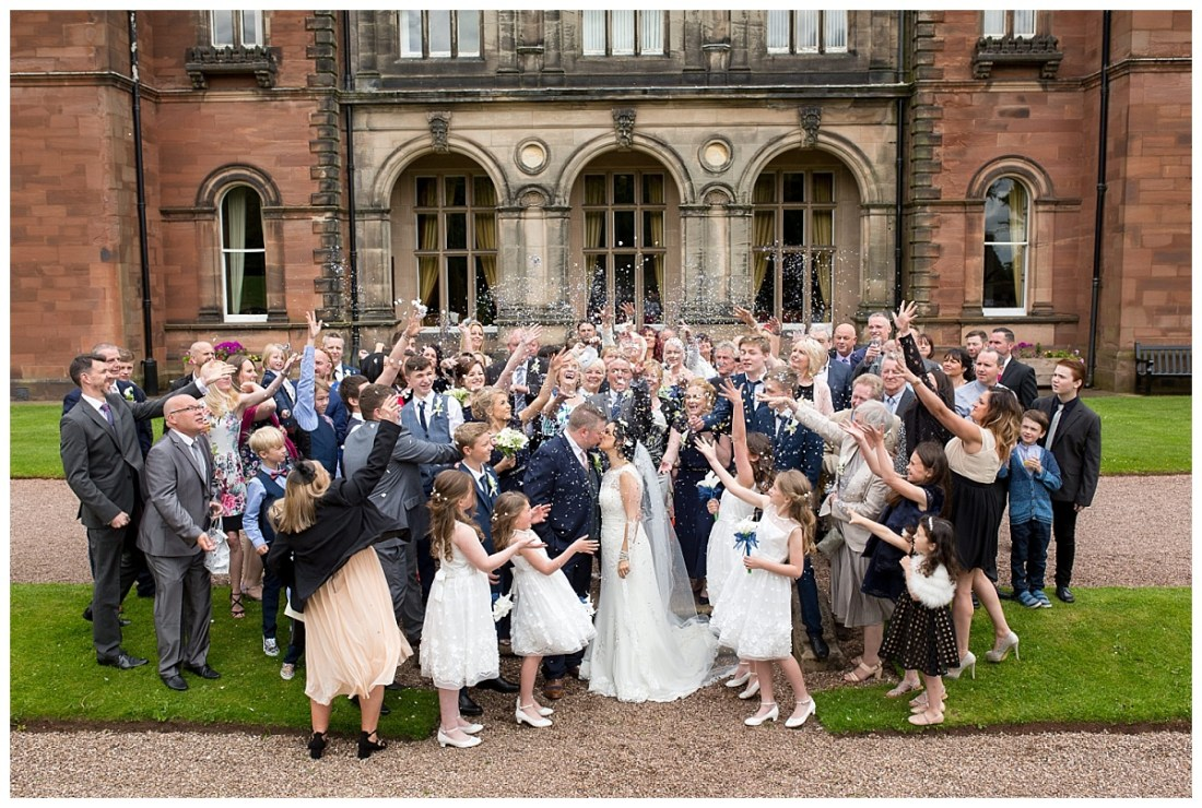 Confetti throw at Keele Hall Wedding