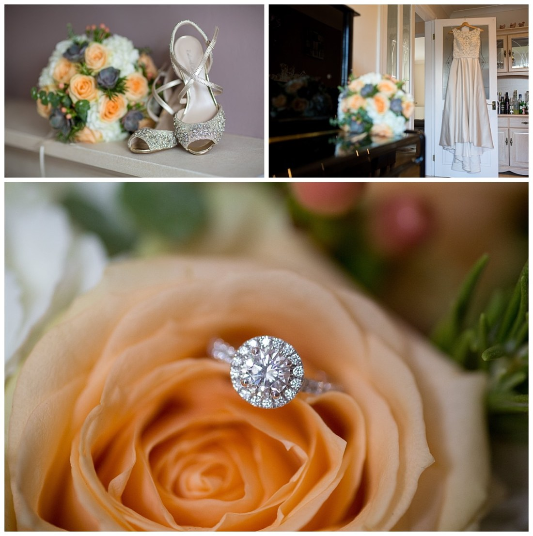 Engagement ring and bouquet