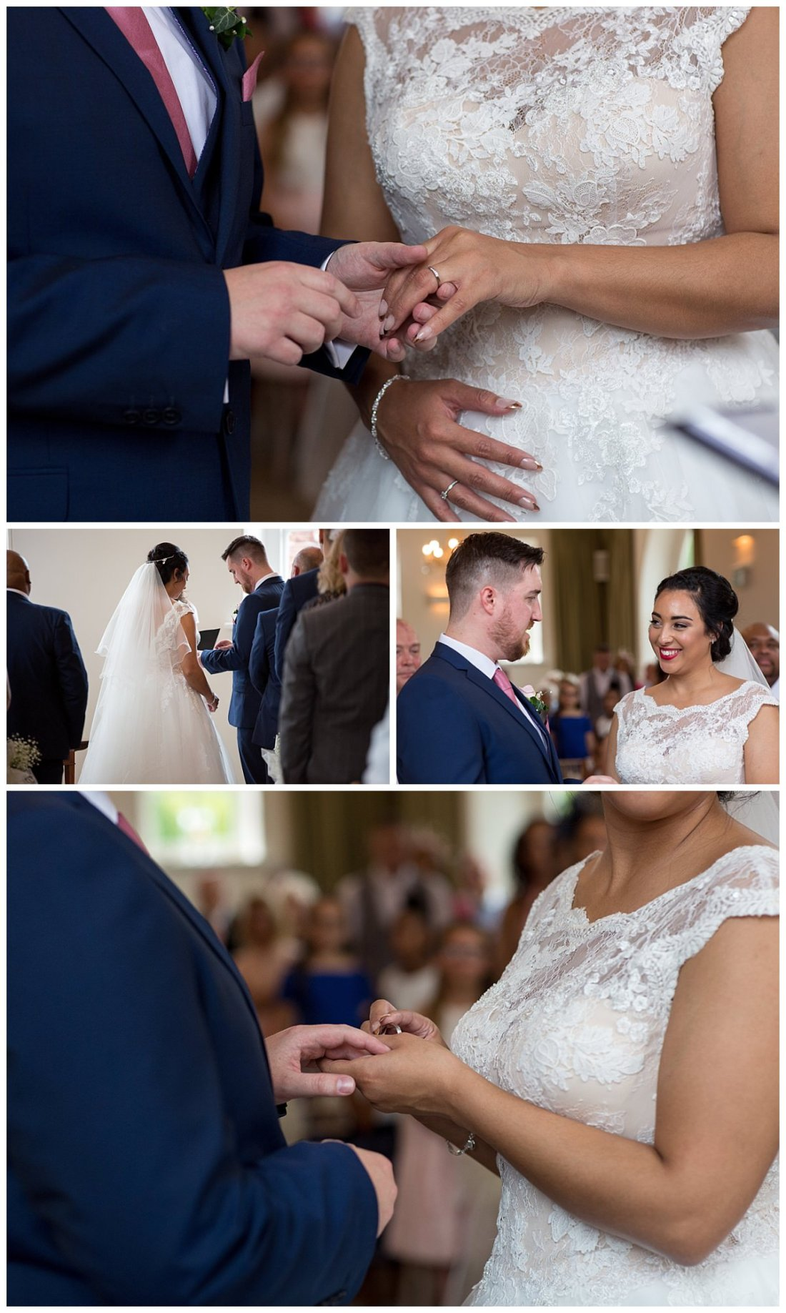 bride and groom placing rings on fingers at Iscoyd Park wedding ceremony