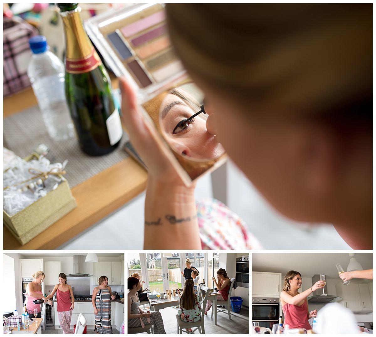 Bride putting on make up for her Raithwaite Estate wedding