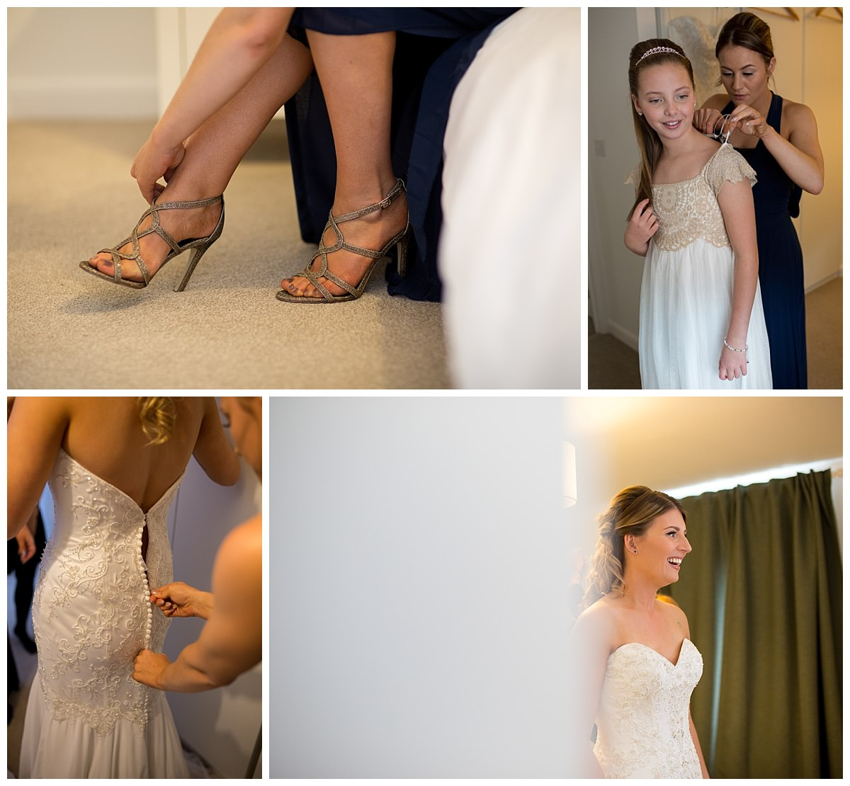 Bride getting in her dress