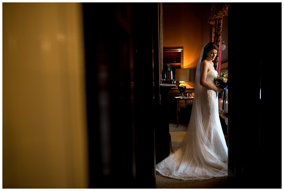 Bride ready for her wedding at Crewe Hall