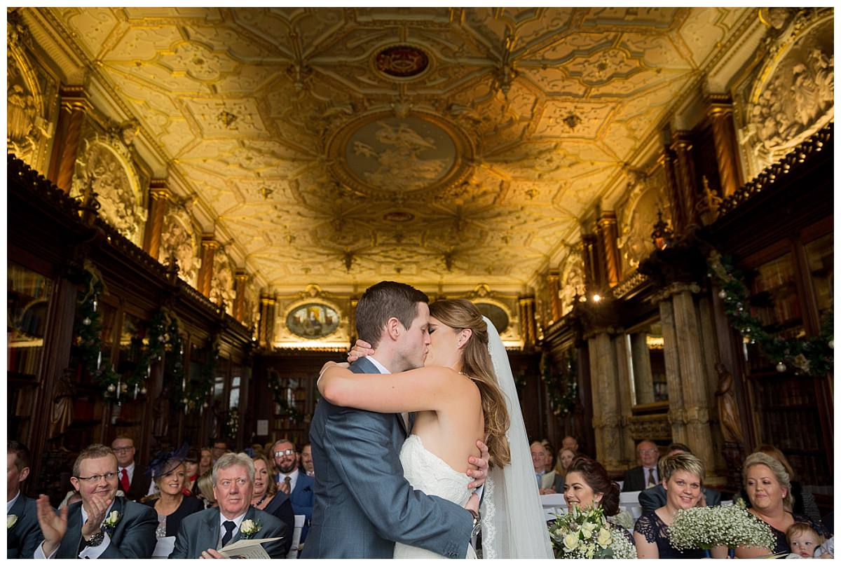 First kiss at Wedding ceremony at Crewe Hall