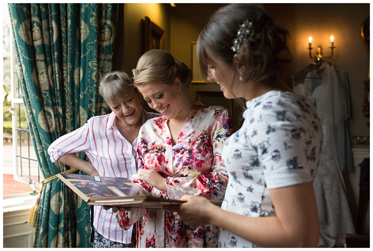 Bride and bridesmaids getting ready at Crewe Hall