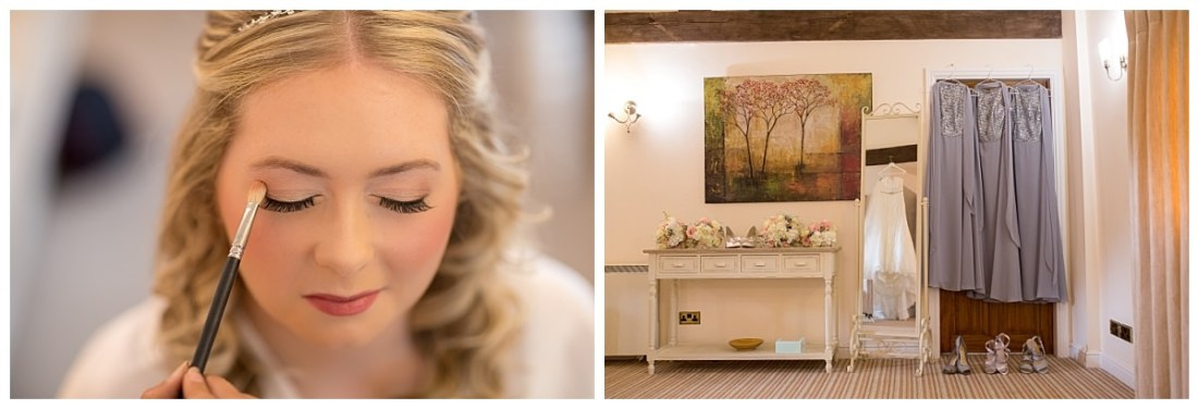 Bride getting her make up applied at Sandhole Oak Barn