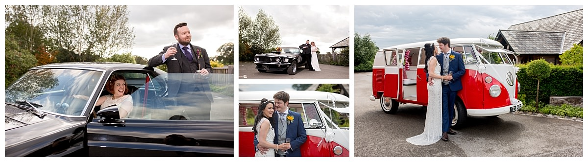 Bride and groom with wedding cars