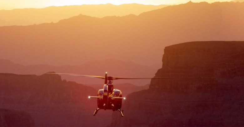 Sunset helicopter tour in mountains