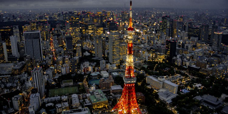 View of Tokyo at night during a helicopter tour