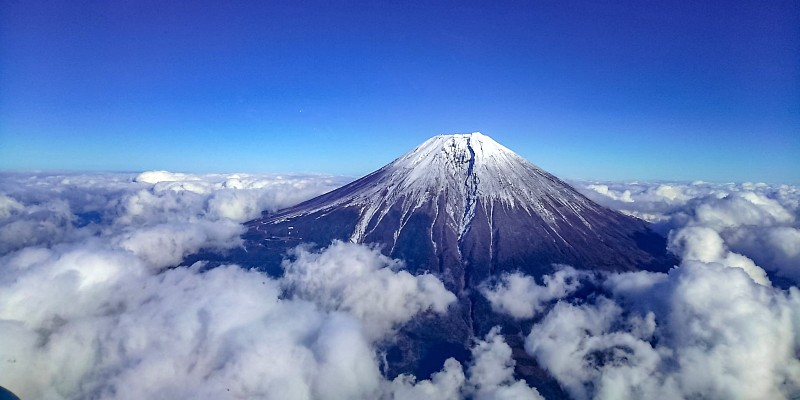 Mount Fuji as seen on helicopter tour