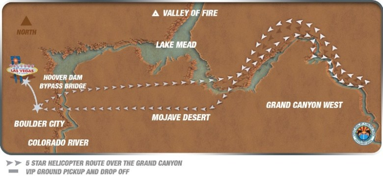 Route of non stop helicopter tour to Grand Canyon West