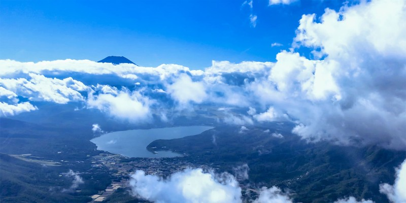 View of Mount Fuji from a chopper