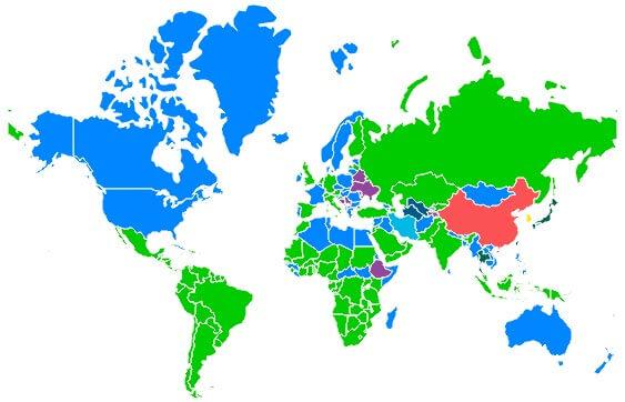 plataformas de mensagens dominantes por região a nível mundial