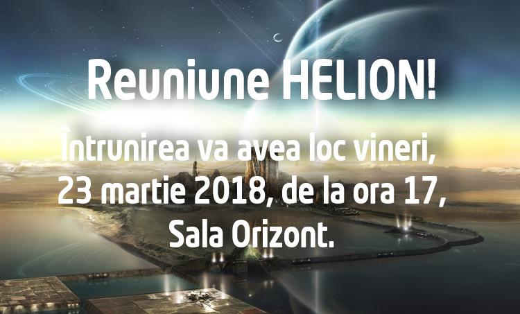 Reuniune club HELION – 23 martie 2018, ora 17:00