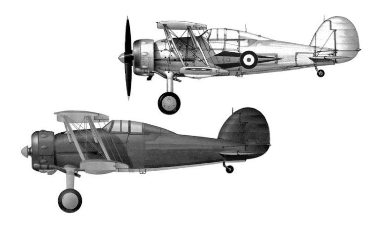 """Gloster """"Gladiator"""" în variantele MK I (sus) şi MK II (jos)"""