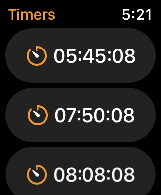 What the list of timers will look like if you don't name them.