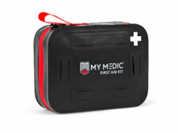 a compact rectangular black and red first aid kit