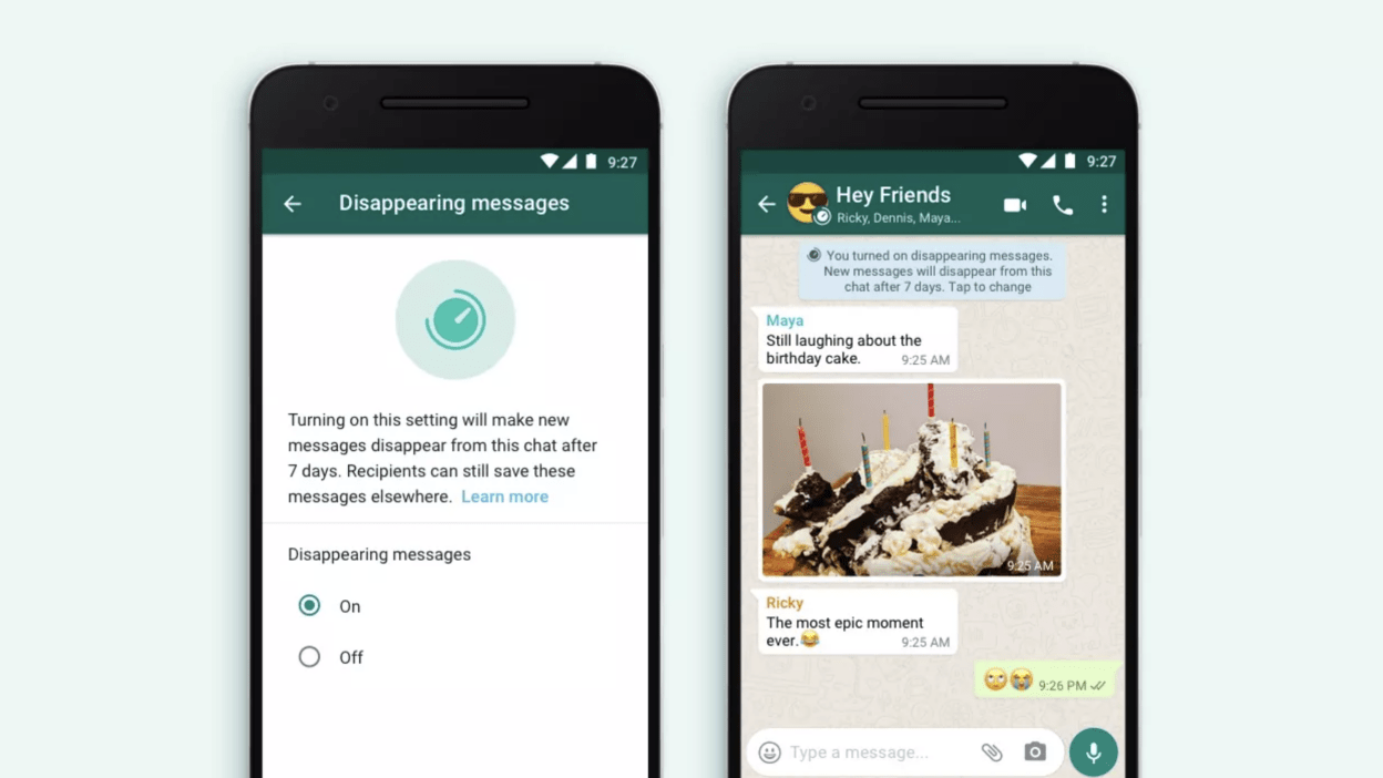 The latest WhatsApp beta lets you set messages to disappear after 24 hours, 7 days, or 90 days.