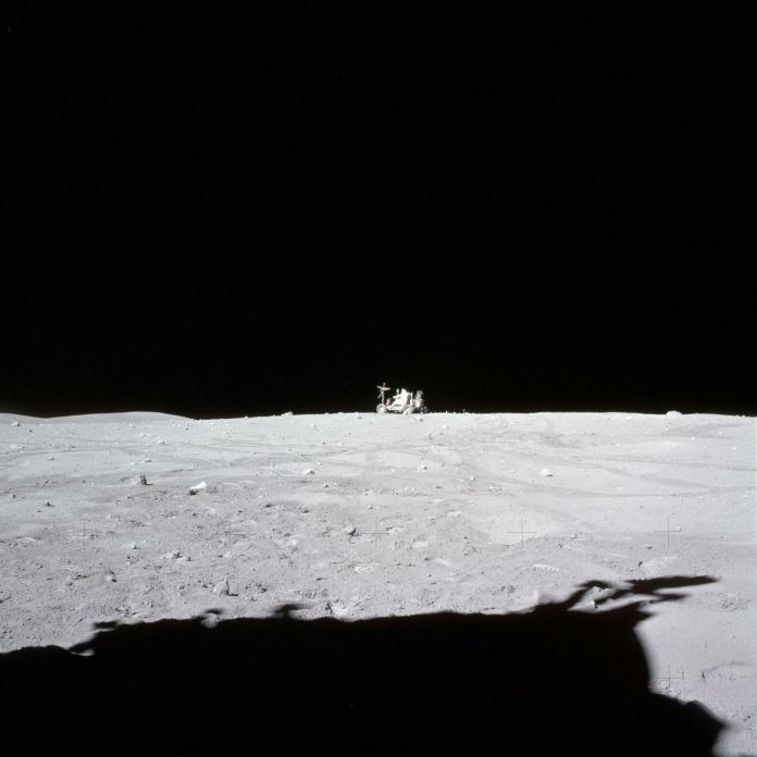 Toward the end of the Apollo 16 mission in 1972, astronaut John Young drives the Lunar Roving Vehicle to a parking spot where it still sits on the moon today.