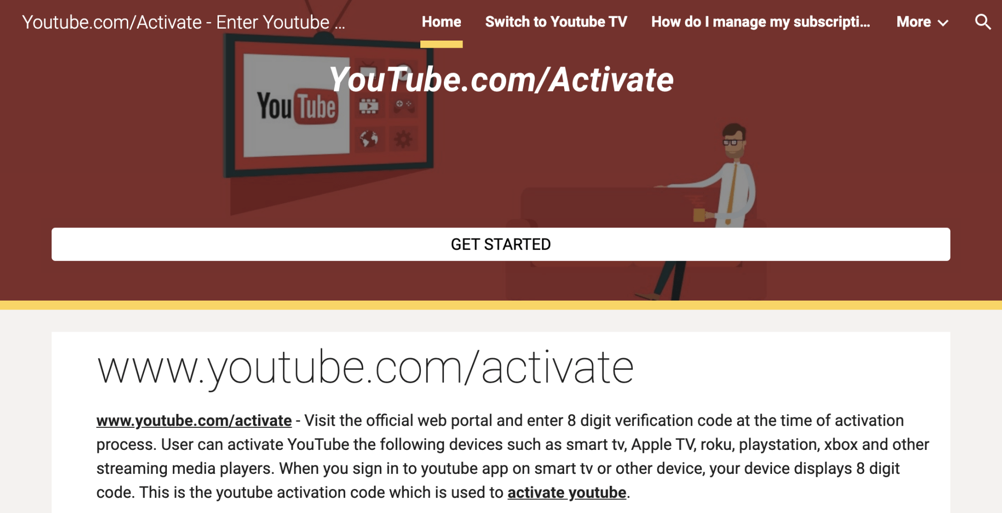 A screenshot of the fake YouTube website hosted on Google Sites.