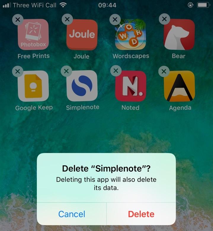 Jiggle those apps away.