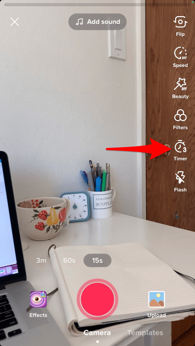 Tap the timer icon to film a hands free video.