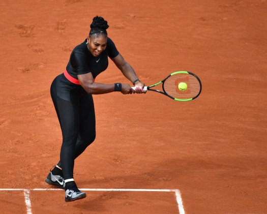Serena Williams wore a black catsuit during the 2018 French Open.