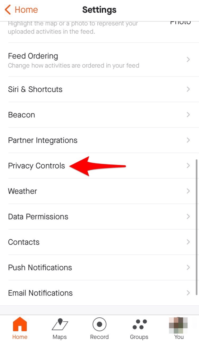"""Select """"Privacy Controls"""" to control who can see your activities."""
