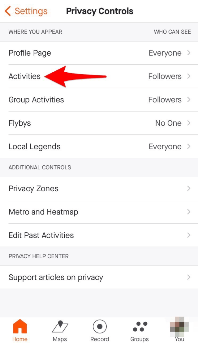 """Select """"Activities"""" to control who can see your activities."""