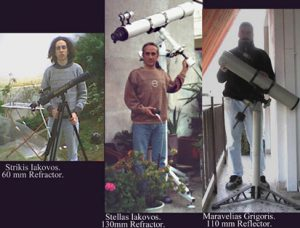 Greek venus observers with their telescopes
