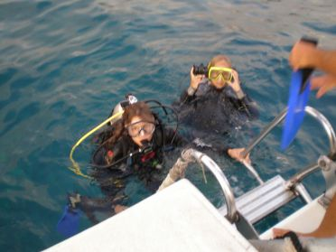 Gry and me coming up after our first dive
