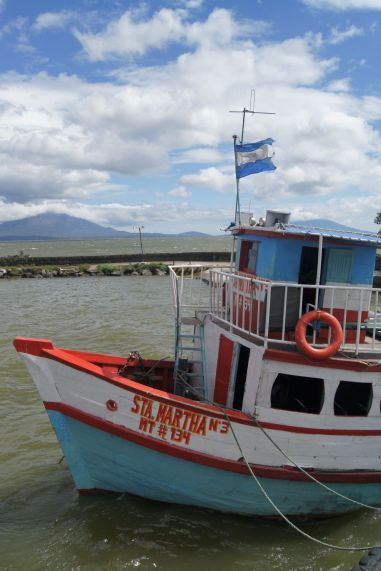 The ferry to Ometepe, with the island in the background