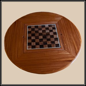 table top showing chess board insert in Ebony and Russian Walnut burl