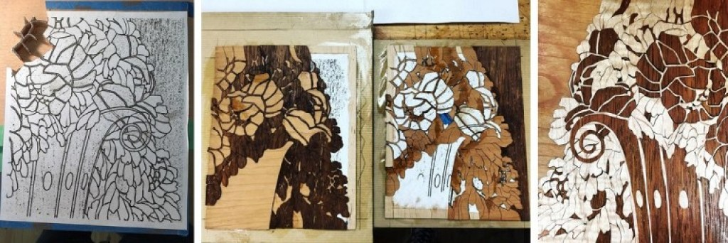 In preparation for my time at the American School of French Marquetry, I began a sample Ruhlmann panel motif first.